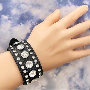 Belt Buckle Bling Rhinestone Black Strap bracelet